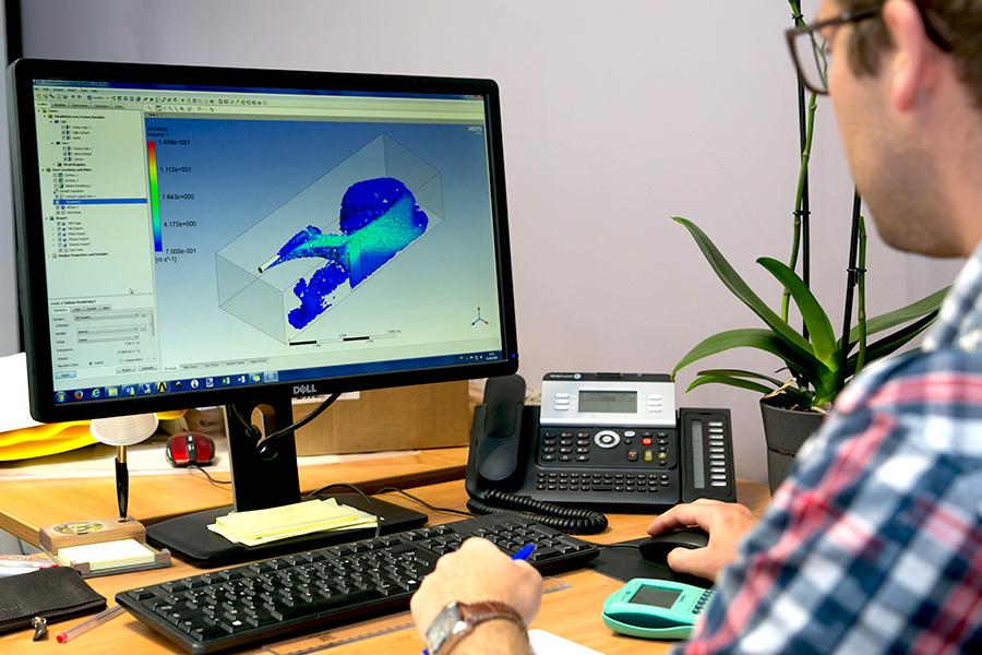 visualisation 3D des flux d'air